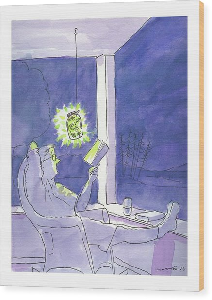 Man Reads By The Light Of Fireflies. Wood Print