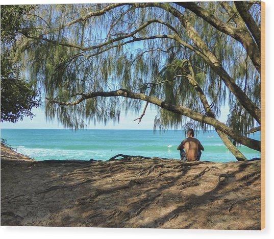 Man Relaxing At The Beach Wood Print