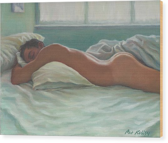 Man Sleeping In Morning Light Wood Print by Pat Kelley