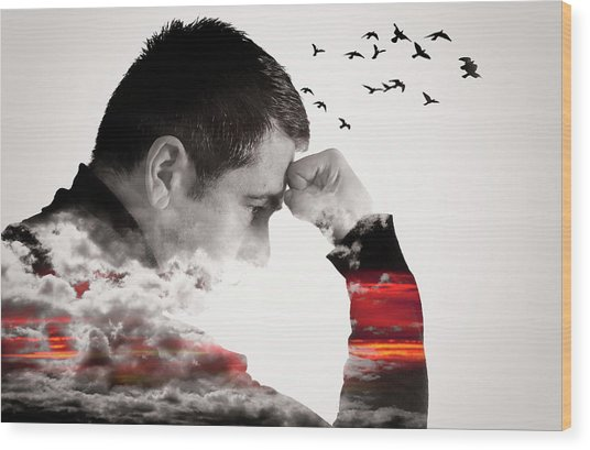 Man Thinking Double Exposure With Birds Wood Print