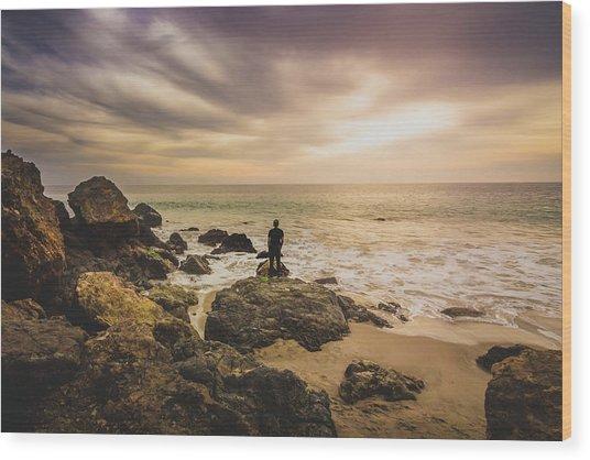 Man Watching Sunset In Malibu Wood Print