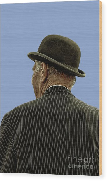 Man With A Bowler Hat Wood Print