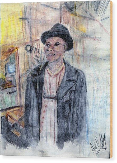 Man With A Harmonica Wood Print by Deborah Duffy
