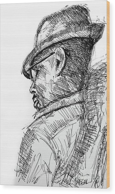 Man With Hat And Glasses Wood Print