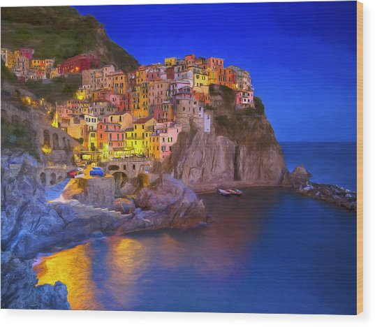 Manarola By Moonlight Wood Print