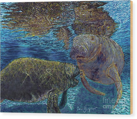 Manatee Motherhood Wood Print