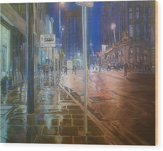 Manchester At Night Wood Print