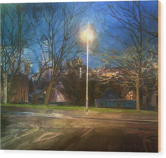 Manchester Street With Light And Trees Wood Print