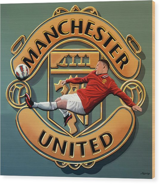Manchester United Painting Wood Print