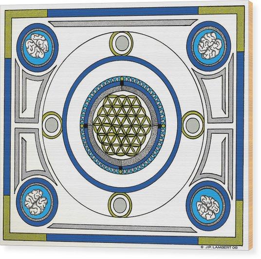 Mandala Anese Wood Print by J P Lambert