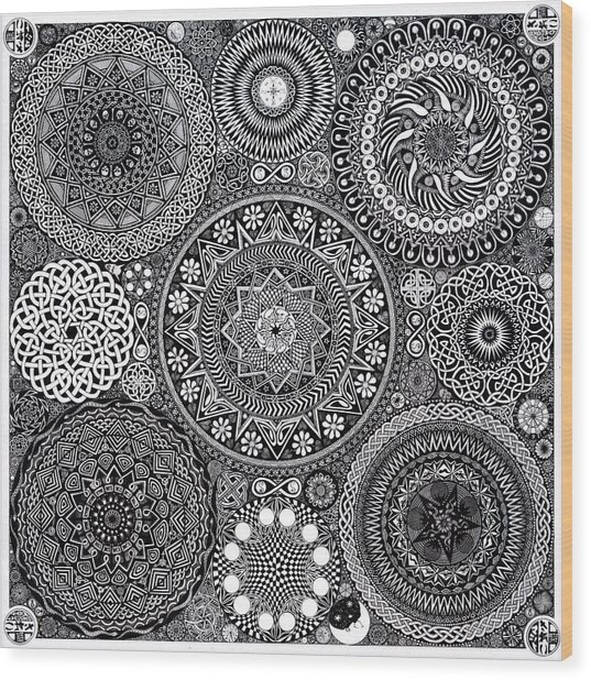 Mandala Bouquet Wood Print