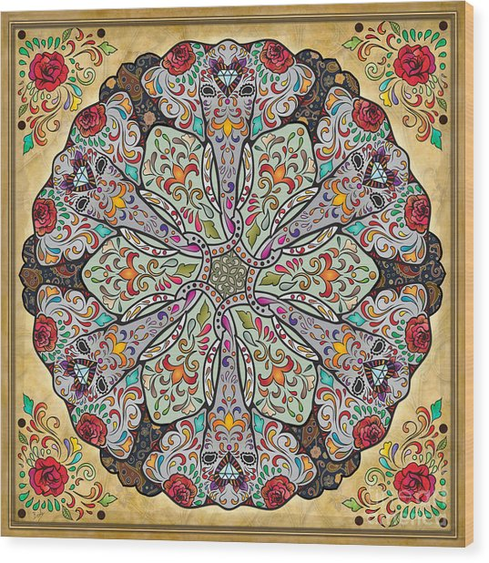 Mandala Elephants Wood Print