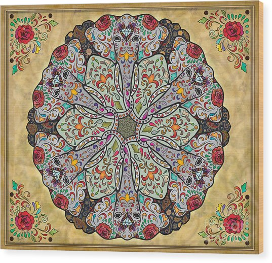 Mandala Elephants Sp Wood Print