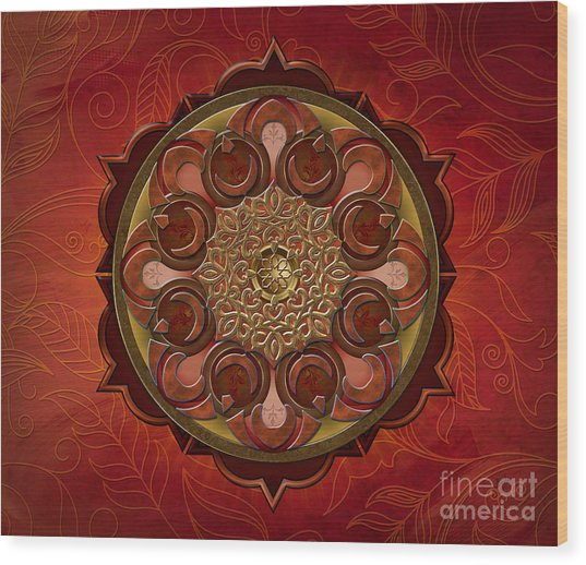 Mandala Flames Sp Wood Print