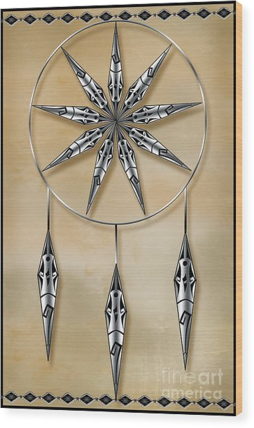Mandala In Silver Wood Print