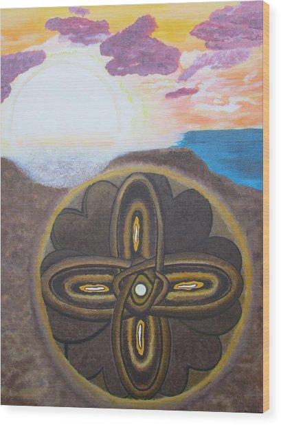 Mandala In The Sand Wood Print