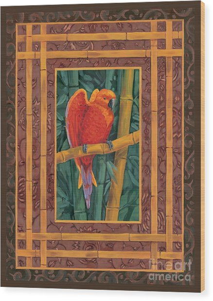 Mandarin Lovebird Wood Print by Paul Brent