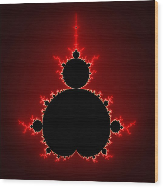 Mandelbrot Set Black And Red Square Format Wood Print