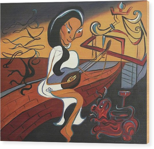 Mandolin Lady Wood Print by Suzanne  Marie Leclair