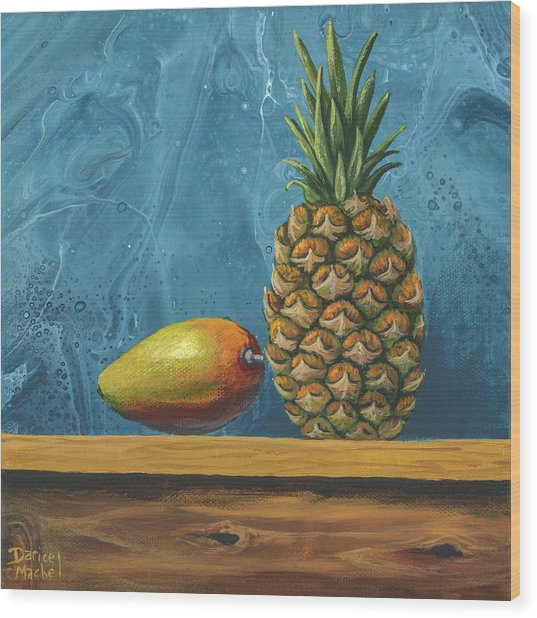 Wood Print featuring the painting Mango And Pineapple by Darice Machel McGuire