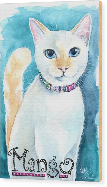 Mango - Flame Point Siamese Cat Painting Wood Print