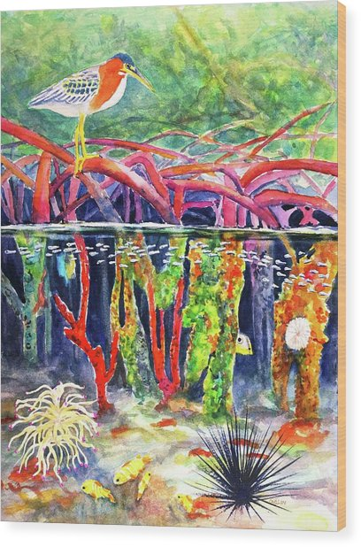 Mangrove Above And Below Wood Print