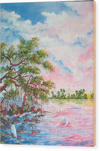 Mangroves Wood Print by Dennis Vebert