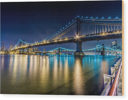 Manhattan And Brooklyn Bridges At Night. Wood Print