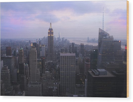 Manhattan At Dawn Wood Print