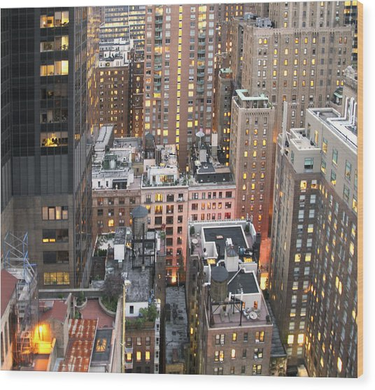 Manhattan At Dusk Wood Print