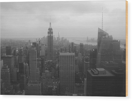 Manhattan Black And White Wood Print