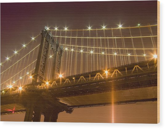 Manhattan Bridge At Night 1 Wood Print