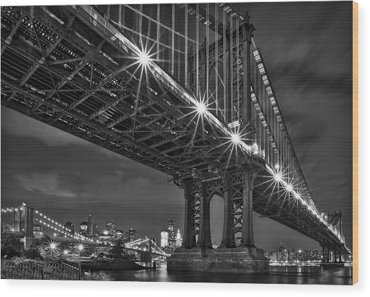 Manhattan Bridge Frames The Brooklyn Bridge Wood Print