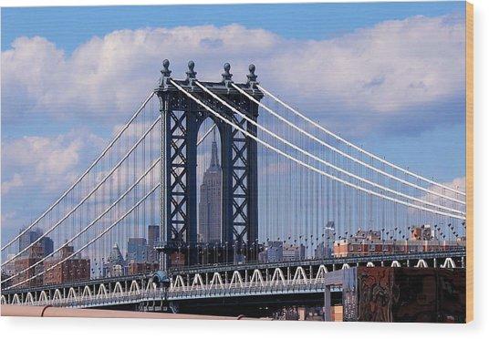 Manhattan Bridge Framing The Empire State Building Wood Print