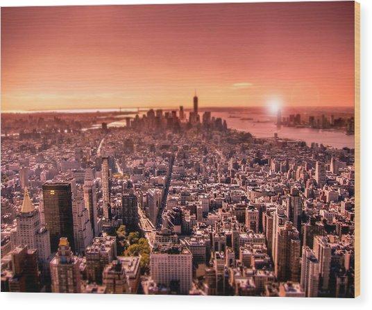 Manhattan In Red Wood Print