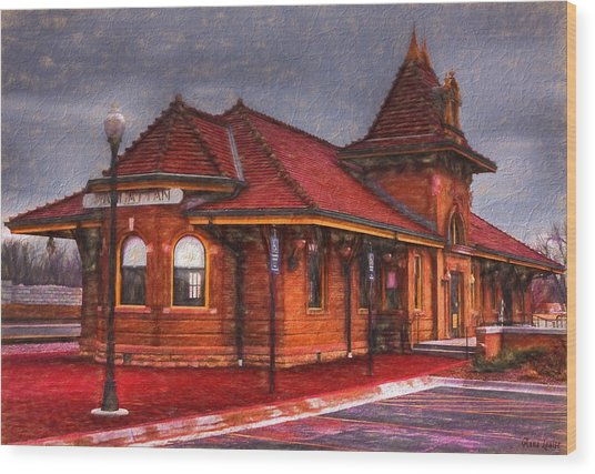 Manhattan Kansas Train Depot Wood Print
