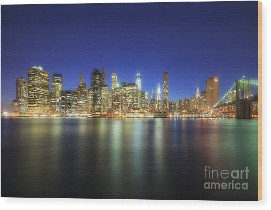 Manhattan Nite Lites Nyc Wood Print