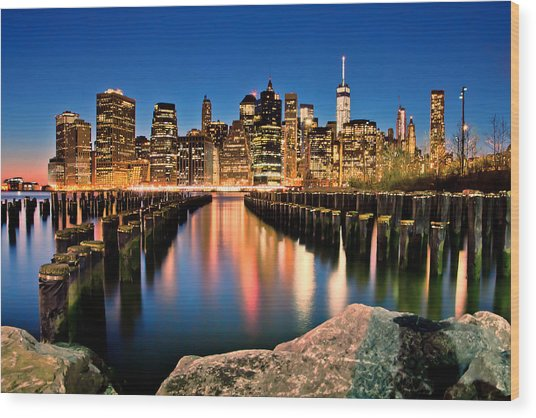 Manhattan Skyline At Dusk Wood Print
