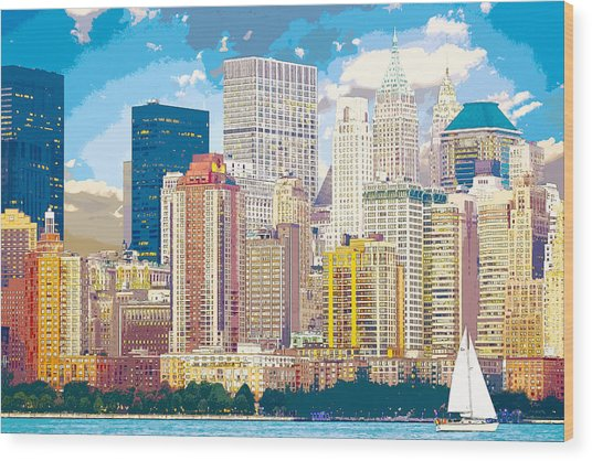 Manhattan Skyline New York City Wood Print