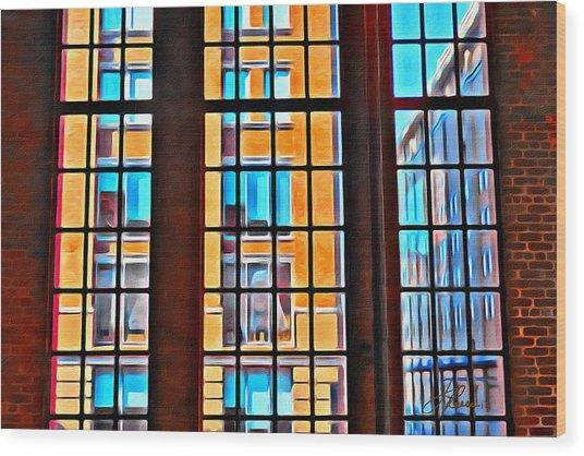 Manhattan Windows Wood Print