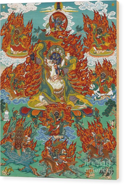 Maning Mahakala With Retinue Wood Print