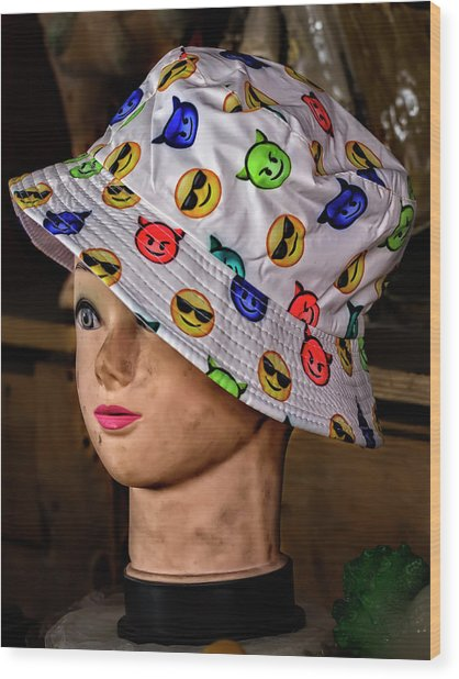 Mannequin Head And Hat Wood Print by Robert Ullmann
