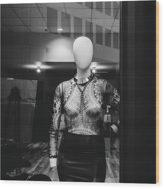 Mannequin In Window Wood Print by Dylan Murphy