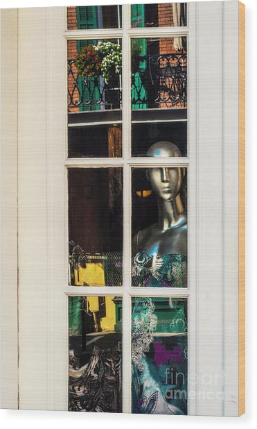 Mannequin Reflecting Wood Print