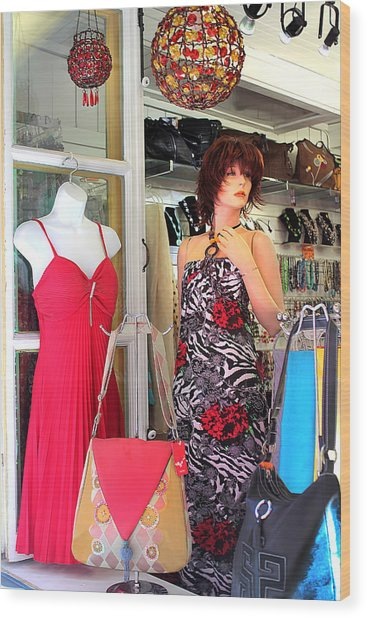 Mannequin With Stripped Flower Dress Wood Print