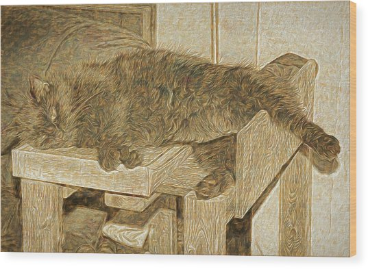 Mannie Is Relaxing Wood Print