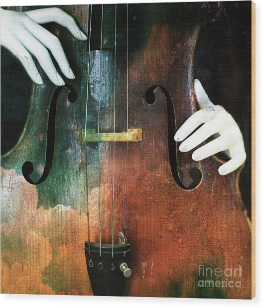 Manniquin On Cello  Wood Print by Steven Digman