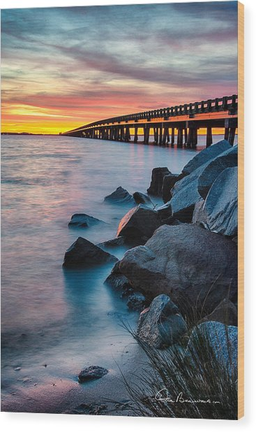 Manns Harbor Bridge Sunset 1127 Wood Print