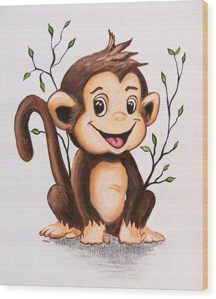 Manny The Monkey Wood Print