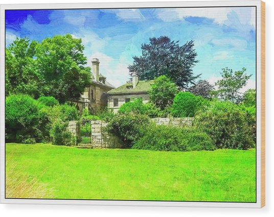 Mansion And Gardens At Harkness Park. Wood Print
